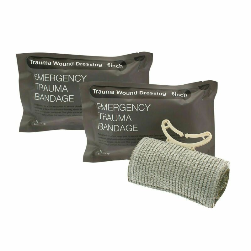 "(2) 6"" Trauma Bandage Emergency Israeli Style Battle Wound Dressing First Aid"
