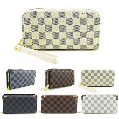 Ladies Womens Designer Inspired Checked Purse Folded Gold Tone Wallet New UK