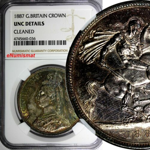 Great Britain Victoria Silver 1887 1 Crown NGC UNC DETAILS.RAINBOW TONED KM# 765