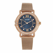 Sophie and Freda Reno Bracelet Watch w/Swarovski Crystals - Rose Gold/Navy