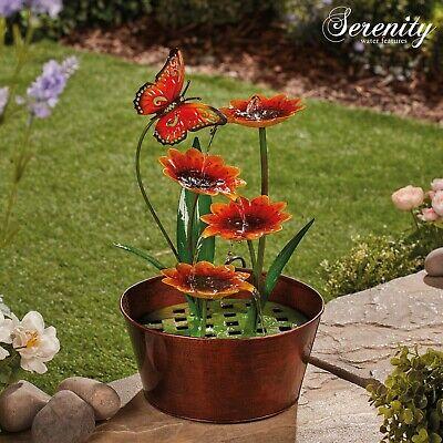 Serenity Metal Indoor & Outdoor Water Feature Sunflowers 40cm Garden Ornament