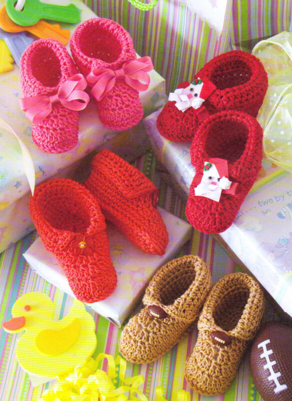 COZY Embellished Baby Slippers/Booties/Crochet Pattern INSTRUCTIONS ONLY