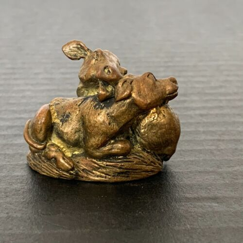 Vintage Miniature Brass Two Cows Huddled Together Figurine Great Detail