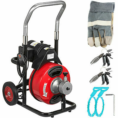 Commercial 100ft 38 Electric Drain Auger Drain Cleaner Machine Snake W Cutter