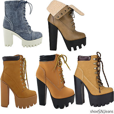 Chunky Heel Platform Booties (New Women Chunky Heel Boots Platform Lace Up Padded Collar Ankle Lug Sole Bootie)