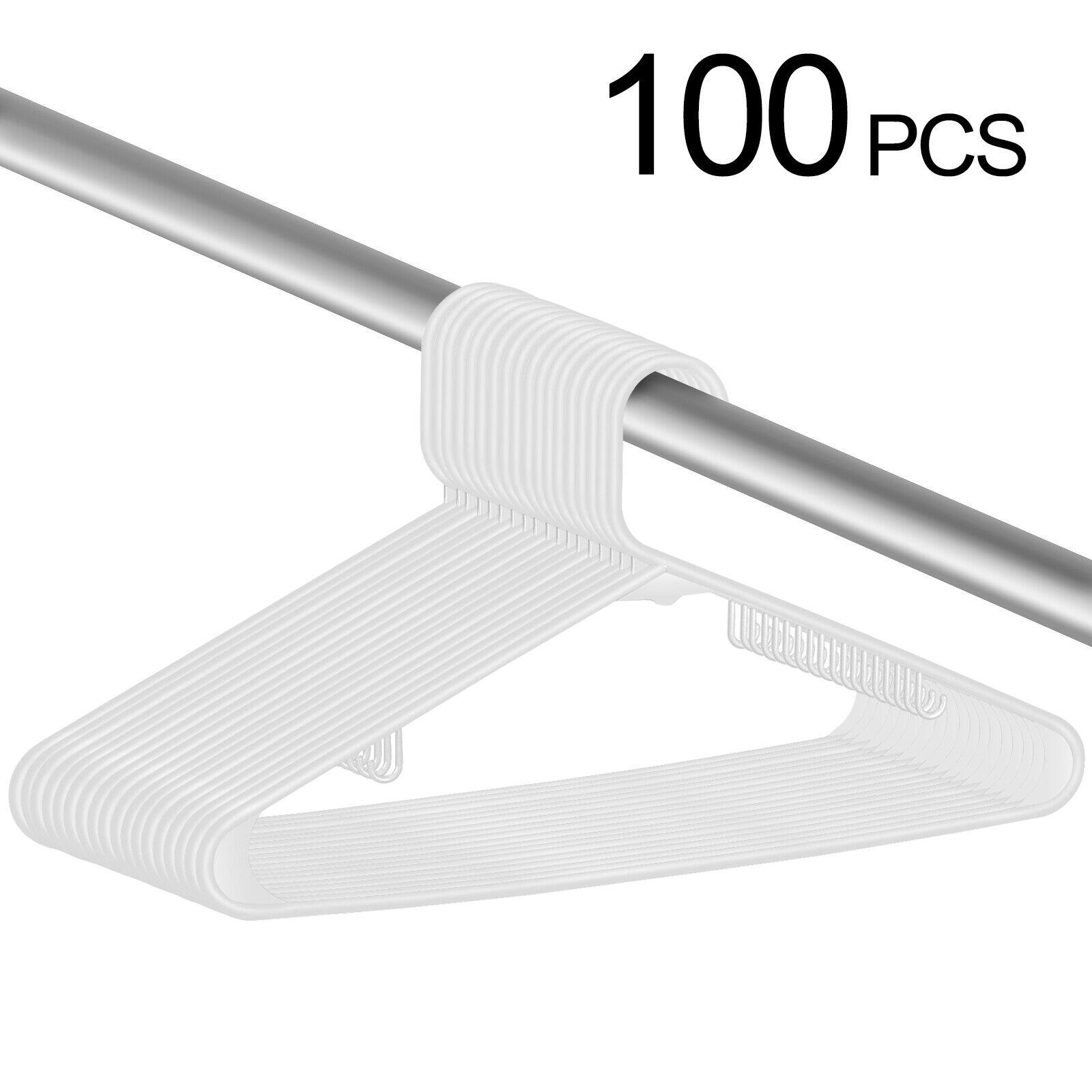 100X Plastic Suit Hangers Durable Clothes Sun-top Hanger Space Saving, White Clothes Hangers