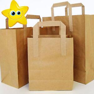 25 SMALL BROWN KRAFT CRAFT PAPER SOS CARRIER BAGS