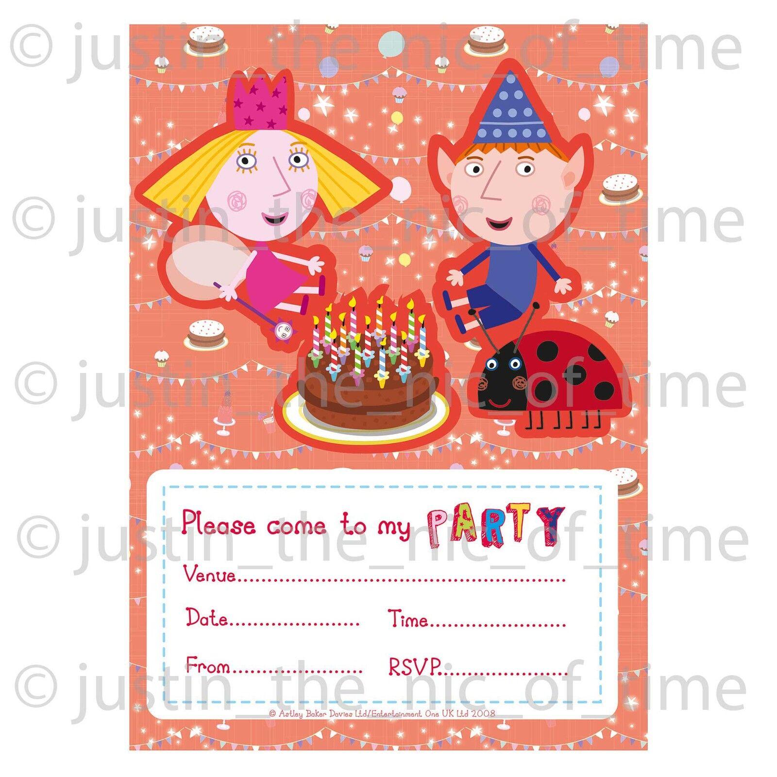 BEN & HOLLY Childrens Girls Boys Birthday Party Invitations ...