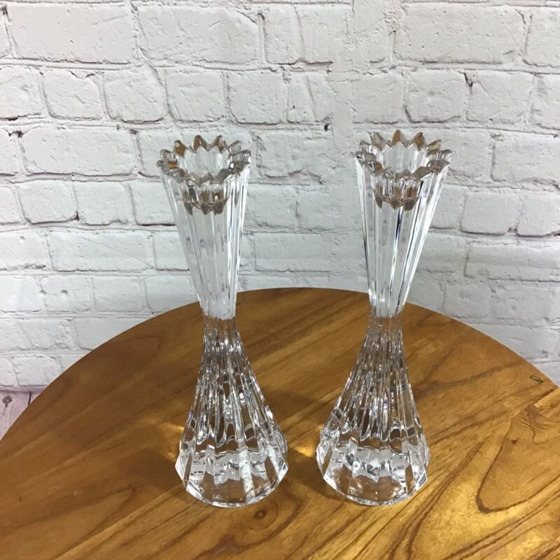 Mikasa Crystal Taper Candlestick Pair