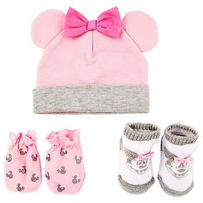 Disney Minnie Mouse Hat  Mitts And Socks Take Me Home Gift Set  Baby Girls  0 3M