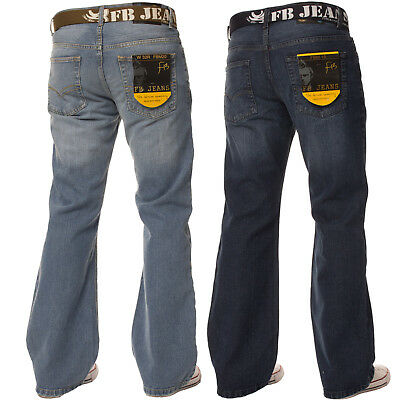 New Mens Bootcut Loose Fit Dark Blue Wide Leg Distressed Denim Jeans Big Sizes - Fit Bootcut Blue Jeans