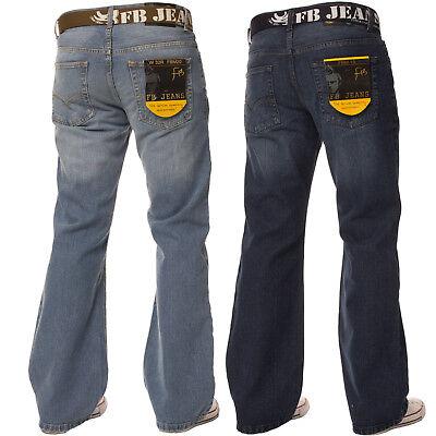 New Mens Bootcut Loose Fit Dark Blue Wide Leg Distressed Denim Jeans Big Sizes Fit Bootcut Blue Jeans