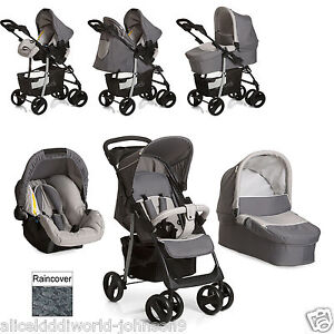 New Hauck shopper SLX Trio Travel System pushchair Carrycot Carseat Stone/Grey