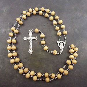Medium-Brown-wood-round-beaded-rosary-beads-55cm-silver-center-men-or-women-long