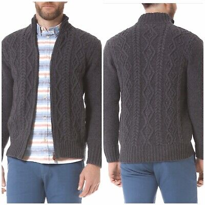 Inis Meáin XL Wool Cashmere Classic Aran Zipper Sweater Cardigan Cable Knit