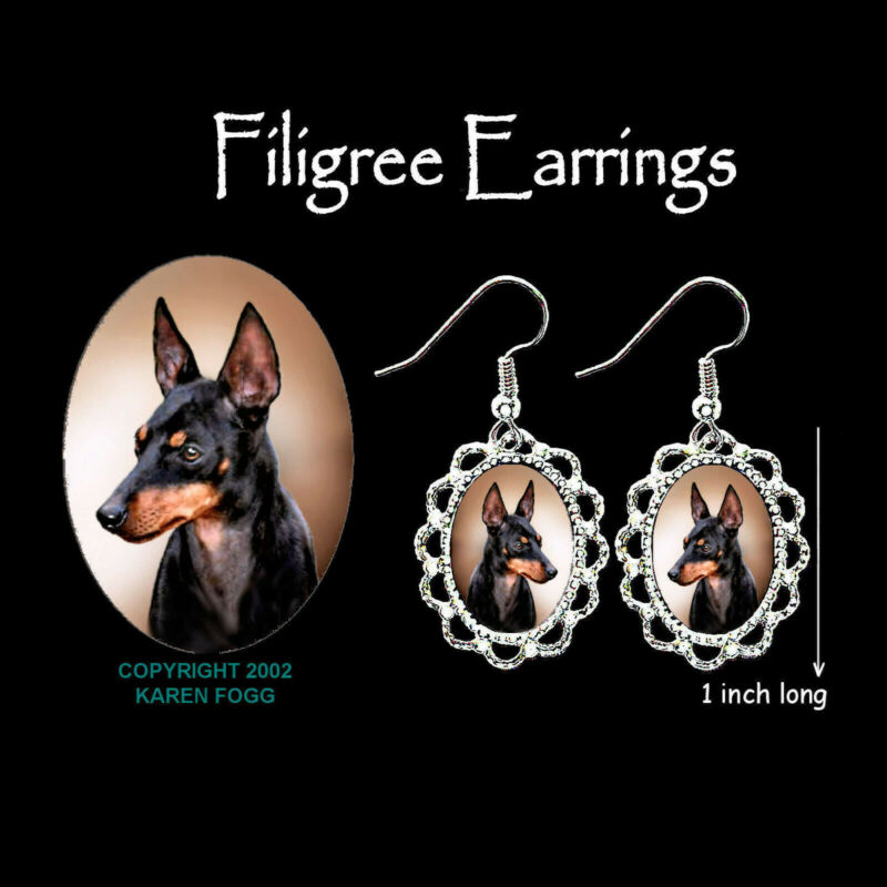 TOY MANCHESTER TERRIER DOG - SILVER FILIGREE EARRINGS Jewelry