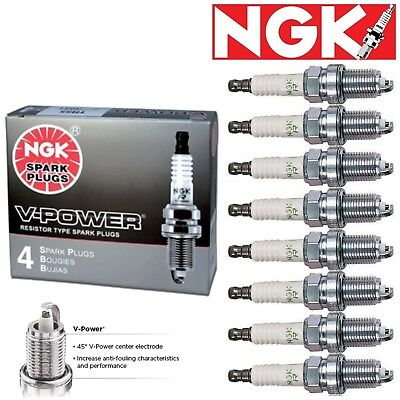 8 - NGK V-Power Plug Spark Plugs 1997-2009 Ford F-150 4.6L GAS Naturally
