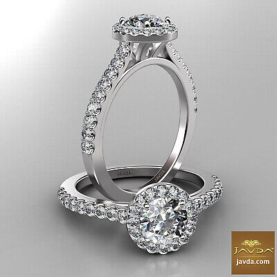 Classic 4 Prong Set Natural Halo Round Diamond Engagement Ring GIA F VS2 1.21Ct
