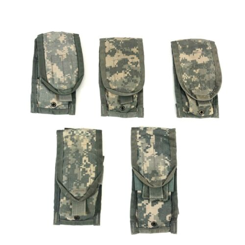 5 ACU Double Mag Pouch Army MOLLE II Camo USGI Military Pouches, 2 Magazine