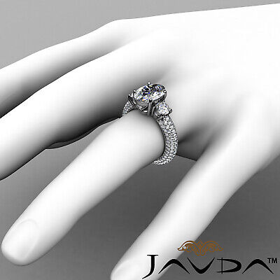 Women's 3 Stone Pave Set Oval Cut Diamond Engagement Ring GIA F Color VS2 3.8Ct 3