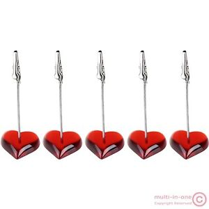 lot 5pcs red heart shape note&picture&card&memo&photo clip holders,wedding place