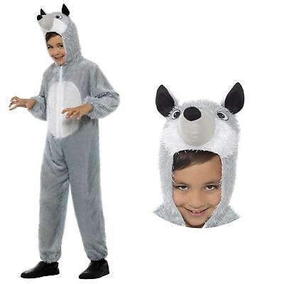 Fairytale Costumes For Boys (Kids Boys Girls Fairytale Wolf Wild Animal Jumpsuit Fancy Dress Book Day)