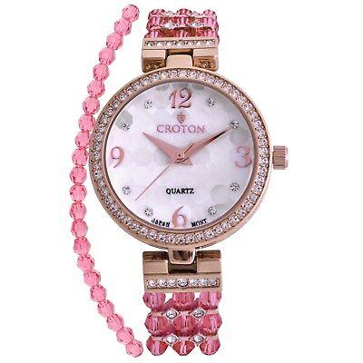Croton Women's CN207563RGPK Quartz Crystal Accented Rose Gold-Tone 30mm Watch