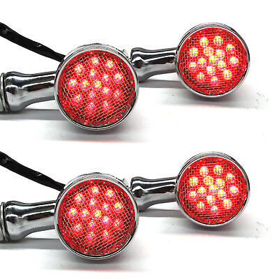 Bullet Tail Lights (Chrome Motorcycle LED Turn Signals RED Light Brake Running Tail Light Bullet)