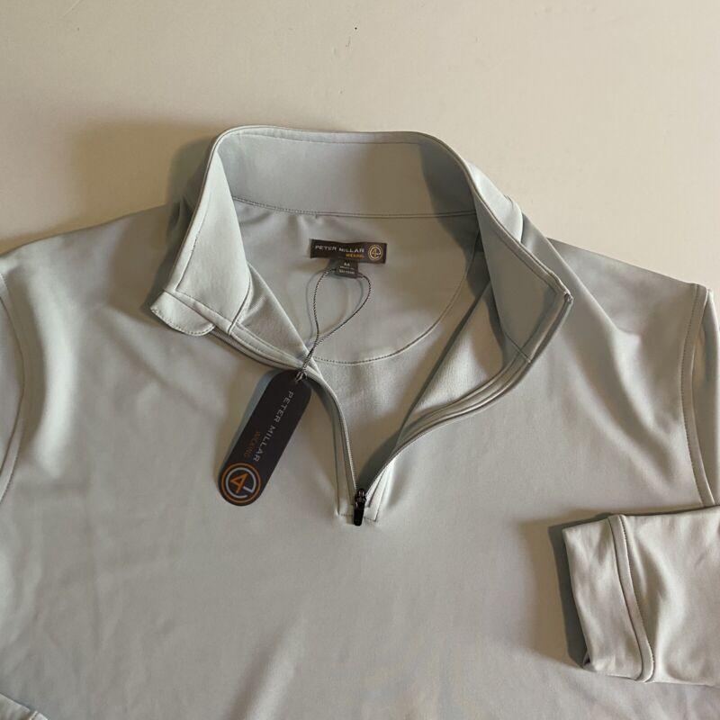 Peter Millar Wicking NWT Mens Medium Gray Longsleeve 1/4 Zip Pullover Golf New