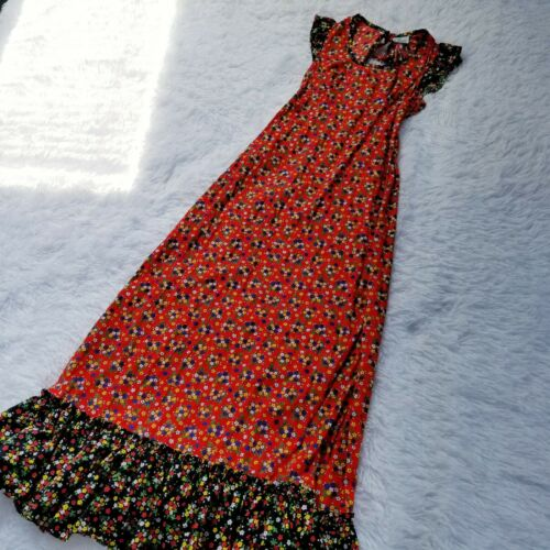 Vintage 1970s Sears Jr Bazaar Prairie Maxi Sundress Size 5 Red Floral