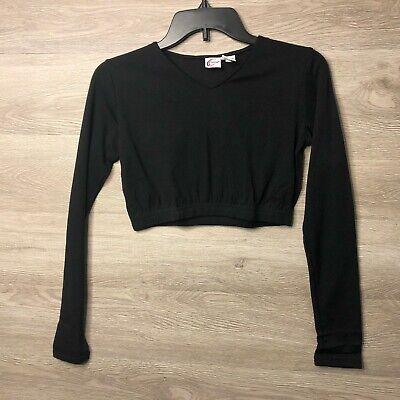 Chasse Cheerleading Adult Medium Crop Long Sleeve Black Shirt -