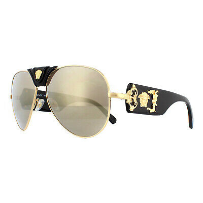 Versace Sunglasses 2150Q 10025A Gold Light Brown Mirror Dark Gold