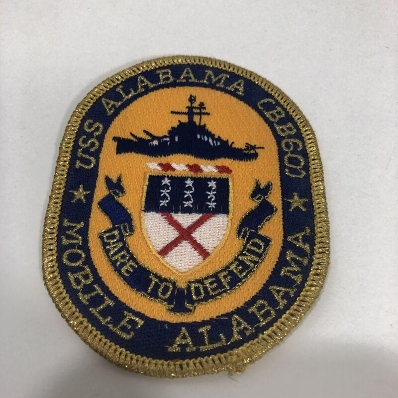 Vintage USS Alabama CBB60 Mobile Alabama Patch Dare To Defend