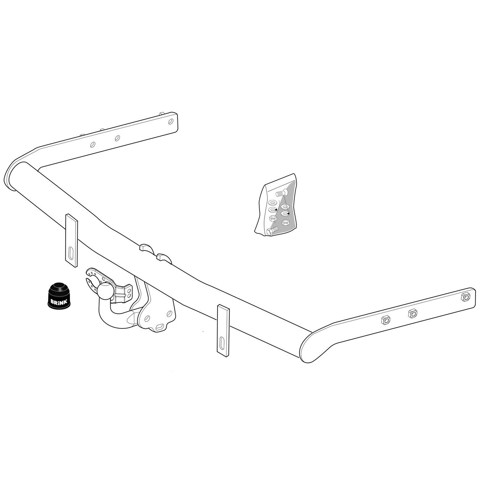 Flange Tow Bar Towbar for Seat Alhambra MPV 2000-2010