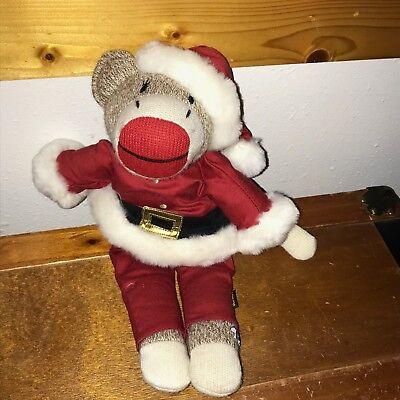 Old Sock Monkey (Gently Used Old Navy Brown Sock Monkey In Santa Claus Suit Stuffed Animal Doll)