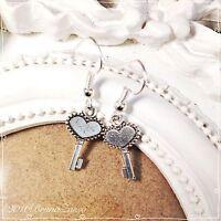 Orecchini Chiave Chiavi Cuore Key Earrings Argento Cute Vintage Hipster Regalo -  - ebay.it