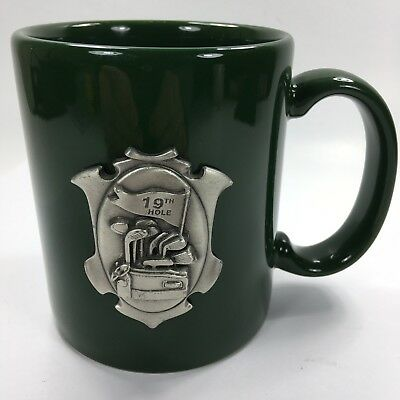 - 19th Hole Pewter Emblem Coffee Cup Mug Dark Green Golf Fun Gag Gift Ceramic