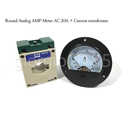 US Stock AC 0~20A Analog AMP Current Panel Meter Ammeter & Current Transformer ()