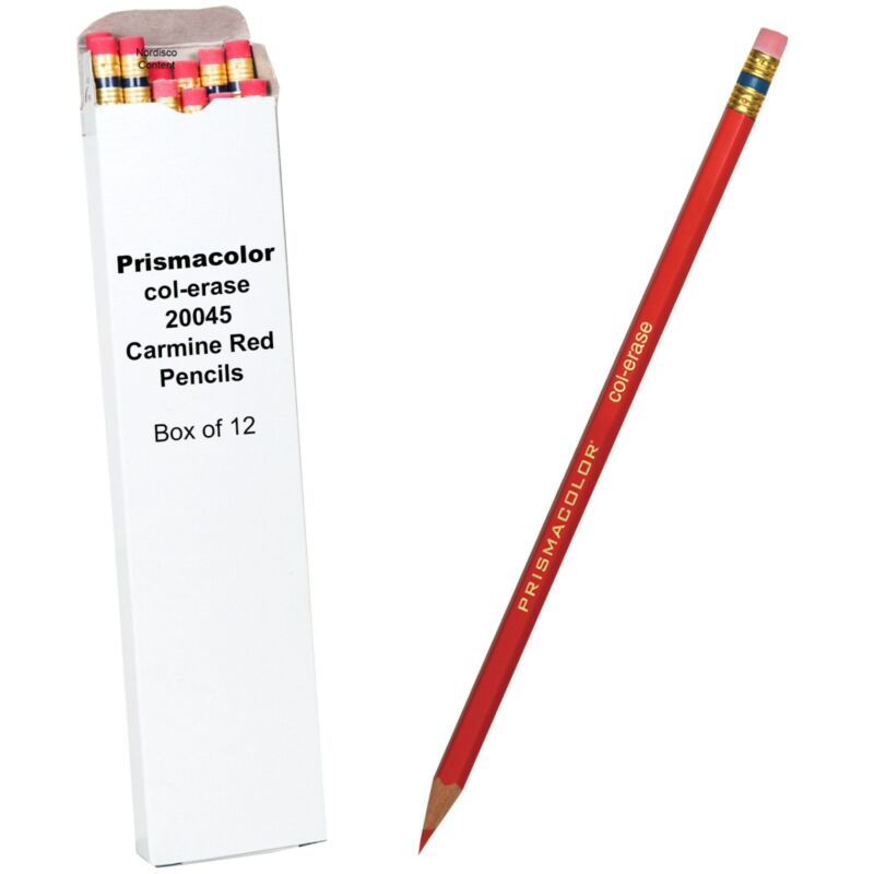 Box Of 12, Prismacolor Col-Erase 20045 Carmine Red Checking Pencils