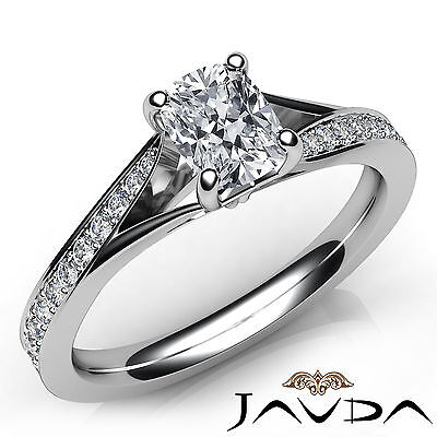 100% Natural Split Shank Pave Cushion Diamond Engagement Ring GIA F VS1 0.68 Ct