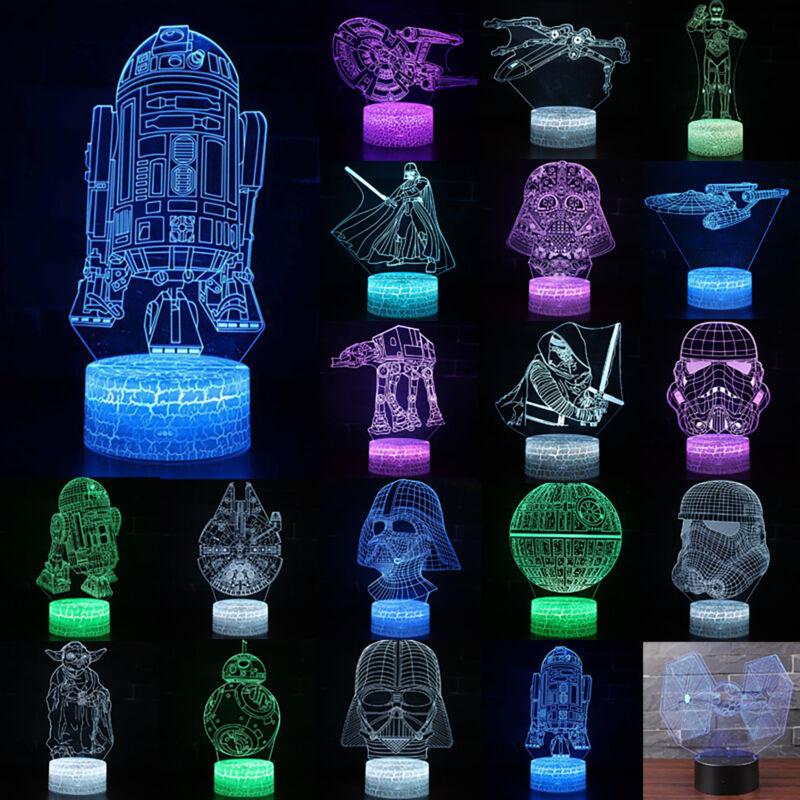7 Color Changing LED Night Light 3D Star Wars Home Desk Deco