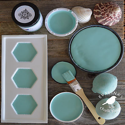 Chalk Furniture Paint  Robin Egg Blue Tiffany Aqua Vintage Wood Glass Jars Metal