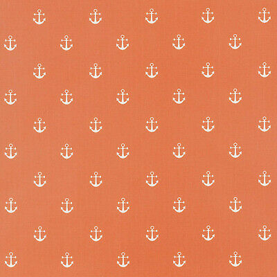 Burnt Orange Anchors / Nautical Oilcloth Wipe Clean Tablecloth Round Rectangle
