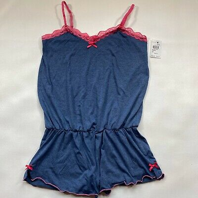 NWT Honeydew Size M Heather Blue Sleep Romper With Pink Lace Trim & Bows