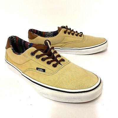 VANS Men's Classic Canvas TC9R Shoes w/ Tan Aztec Lining Leather Tongue Size 10