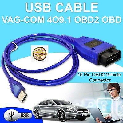 Auto Car Diagnostic Scanner Tool Protocol Vagcom Kkl 409 1 Obd2 Usb Cable Line