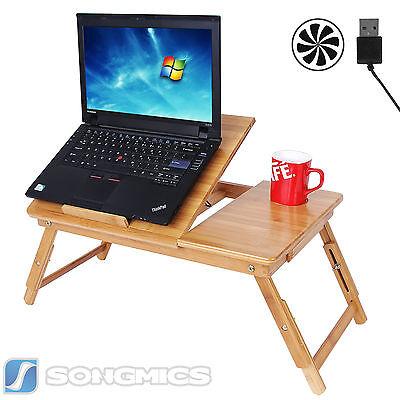Songmics Bamboo Foldable Laptop Desk USB Fun Breakfast Serving Bed
