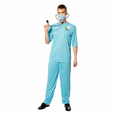 Doctor Costume Men (Men's Surgeon Scrubs Doctor Costume Hospital Uniform Cosplay Halloween)