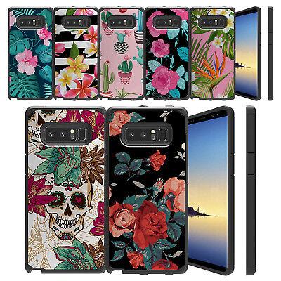 For Samsung Galaxy Note 8, Slim Sleek Dual Layer Shock Case Floral Cute Pink
