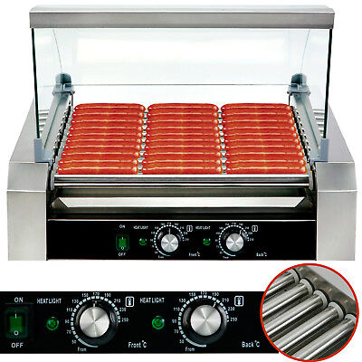 30 Hotdog Roller Commercial Hot Dog 11 Roller Grill Cooker Machine Wcover